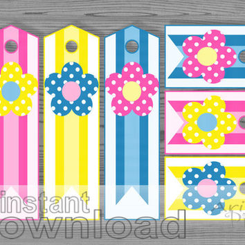 set of 6 printable bookmarks and gift tags, polka dot flower, striped ribbon, best  , pink, blue, yellow