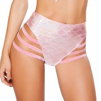 Pink Mermaid High-Waisted Strapped Booty Shorts