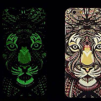 So Cool Night King Lion Animal Handmade Carving Luminous Light Up iPhone creative cases for 5S 6 6S Plus Free Shipping