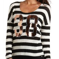 Sequin-Numbered Striped Top by Charlotte Russe