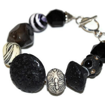 Chunky Black and White Mixed Media OOAK Beaded Bracelet by chumaka