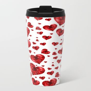 red jewel hearts coffee mugs Metal Travel Mug by Coffee Cup Heaven
