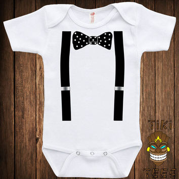 Funny Baby Infant Bodysuit Clothes Romper One-piece One Piece Bow Tie And Suspenders Costume Geek Nerd Fun Joke Humor Adorable Cute Shower