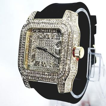 Techno Pave Gold Finish Iced Out Lab Diamond Face Mens Watch Bla 41f1f60565
