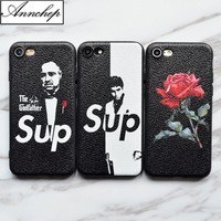 New Brand SUP Scarface the Godfather Red Rose soft leather silicon Case For iphone 6 6s 7 Plus 8 Plus X 5s SE Cover funda coque