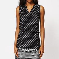 Ethnic Print Belted Shift Dress