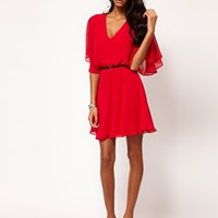 ASOS Skater Dress With V Neck And Angel Sleeve