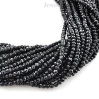 Black Spinel Rondelle Faceted Semiprecious Gemstone Beads A+ Grade, 3-4 mm, 34 cm Strand