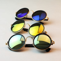 Vintage Round Mirror Lens UV400 Sunglasses Women Men Unisex Glasses