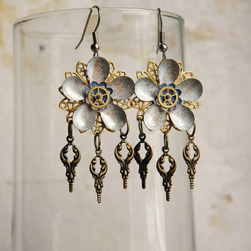 Steampunk Flower Earrings Steampunk White Enamel by bionicunicorn