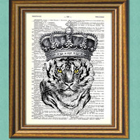 TIGER KING -  Dictionary art -Vintage art book page print recycled-  Antique Book Page upcycled - Art Print Dictionary
