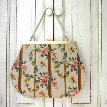Floral Needlepoint Purse | Vintage 60s Needle Point Handbag | Cream Floral and Striped Purse | Women's Handbag | Vintage Retro Fashion