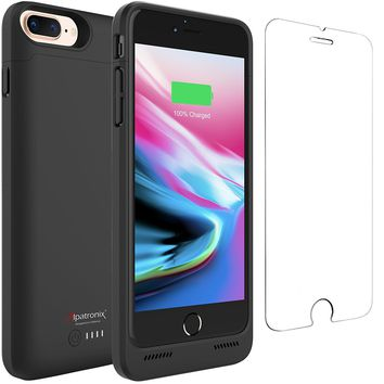 iPhone 8 Plus Battery Case with Qi Wireless Charging, Alpatronix BX190plus 5.5-inch 5000mAh Slim Rechargeable Protective Portable Charger Case for iPhone 8 Plus [Apple Certified Chip; iOS 11+] - Black