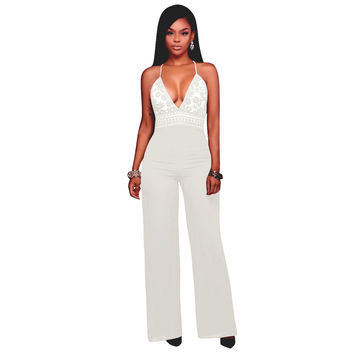 High Waist Lace Crochet Strappy Loose Jumpsuit