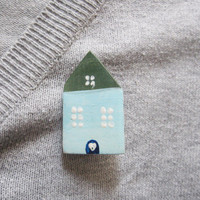Blue house brooch Cute fairy tale house Blue and green brooch Small home to take with you