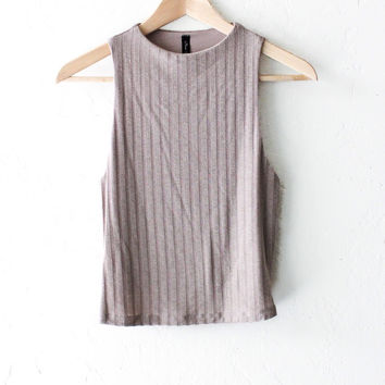 Knit High Neck Crop Top - Taupe