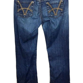 Kut From The Kloth Jeans So Low Bling Boot Cut Thick Stitch Stretch Womens 8 - Preowned