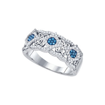 10kt White Gold Womens Round Blue Colored Diamond Cluster Filigree Band Ring 3/8 Cttw 81998