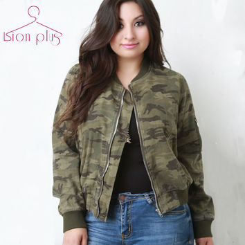 camouflage jacket women Big Sizes 6xl 5xl 2016 Autumn Casual Boyfriend Style Bomber Jacket O-Neck Baseball Female Jackets Cloth