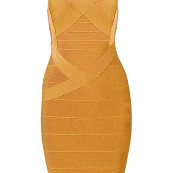Honey Couture Mustard Strappy Bandage Dress