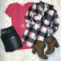 Penny Plaid Flannel Top: Pink/Navy