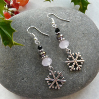 Earrings Christmas Snowflake Crystals Free Worldwide Shipping