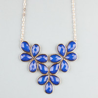 Full Tilt Facet Teardrop Flower Statement Necklace Cobalt One Size For Women 22683821701