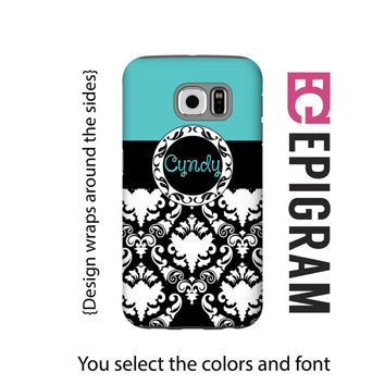 Aqua damask personalized Samsung Galaxy S6 case, custom Galaxy S5 case, damask Galaxy S4 case, aqua Galaxy S6 case