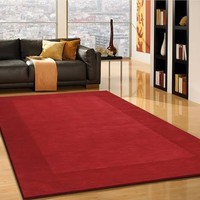 Solid-Red Hand Tufted Hand Carved 100% Polyester Area Rug