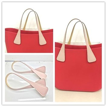 50cm 1 pair PU leather handle for italy o big bag beach handbag fashion style for obag accessories handle 2017