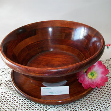 Vintage Large Pomerantz Wooden Salad Serving Bowl Taiwan 2 Piece Wood Platter Tray