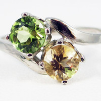 Peridot and Citrine Two Stone 14 karat Gold Ring