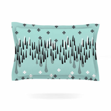 "Zara Martina Mansen ""Drop of Memphis Blue"" Aqua Gray Pillow Sham"