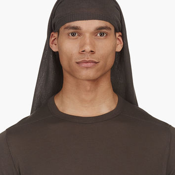 Rick Owens Grey Knit Veil Hat