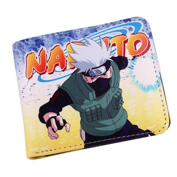 Naruto Sasauke ninja Anime  and Sasuke Themed Wallet With Zipper Coin Section Bifold Purse Wallet Credit/ID Card Holder AT_81_8