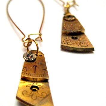 Golden Steampunk Earrings  Elegant Guilloche by VintageOoakDesigns
