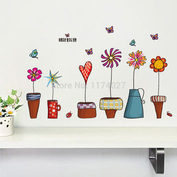 Cartoon Flower Butterfly wall Stickers Beautiful Window glass Home Decor Decoration Removable art decals