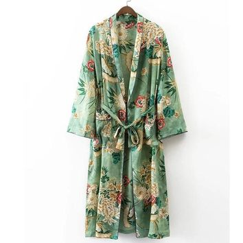 Trendy X192 women vintage floral print green color long design jacket kimono outwear ladies summer double pockets with belt jackets top AT_94_13