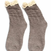 Crochet Trimmed Mid-Calf Socks