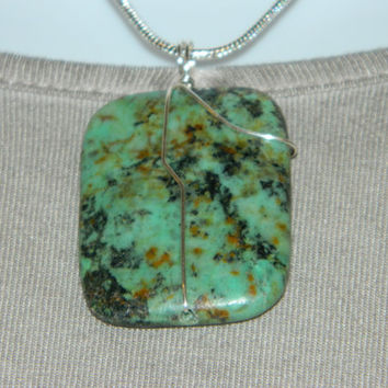 90ct. Green and Black Stone, Semi Precious, Agate, Pendant, Necklace, Rectangle, Natural Stone, 141-15