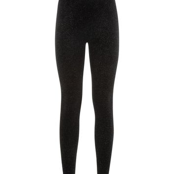 Black Glitter Velvet Leggings | New Look