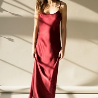 GIA SLIP DRESS - CRIMSON SILK