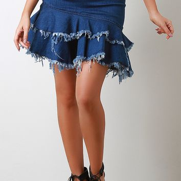 High Rise Frayed Tiered Denim Midi Skirt