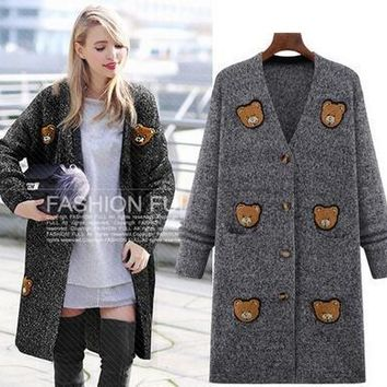 2017 cashmere cardigan female medium-long wool small bear sweater loose long-sleeve plus size sweater 4XL 5XL knitted jacket