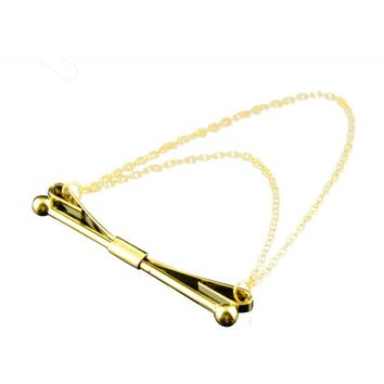 1PC Mens Necktie Tie Clip Cravat Pin With Chain Brooch 04 Gold