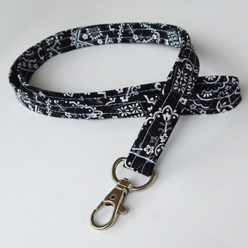Bandana Lanyard / Black Bandana / Western Keychain / Country Western / Key Lanyard / ID Badge Holder / Fabric Lanyard / Stocking Stuffers
