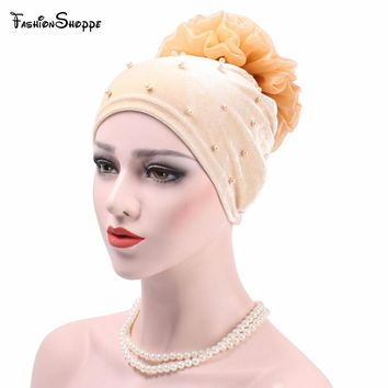 Fashion Women Muslim Stretch Turban Hat Big Flower Hair Loss Head Scarf Wrap Velvet  great quality headdresses for women winter