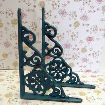 Wall Bracket Cast Iron Shelf Ornate Brace Lagoon Teal Blue Decorative 1 Pair (2 individual brackets) Shabby Chic Aqua Distressed Decor