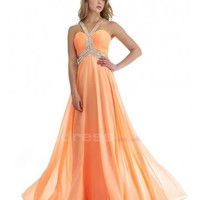 A Line Open Back Chiffon Halter Prom Dresses - by OKDress UK