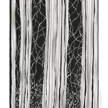 EMERGENCY MEDITATION:  Art print abstract textured botanical drawing done in pen and ink 8x10 Limited Edition Fine art print